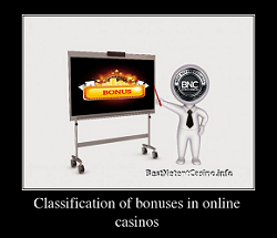 Classification of bonuses in online casinos